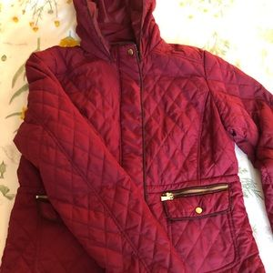 Maroon hooded quilted jacket with gold trim